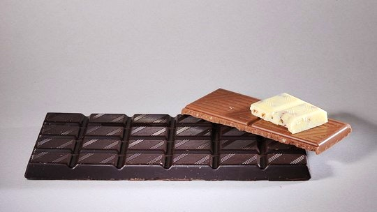 Various chocolates, dark, milky, white. By LivingShadow (Creative Commons)
