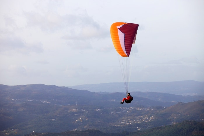 CALDELAS, PORTUGAL - DECEMBER 17: Paragliding Cross-country Port