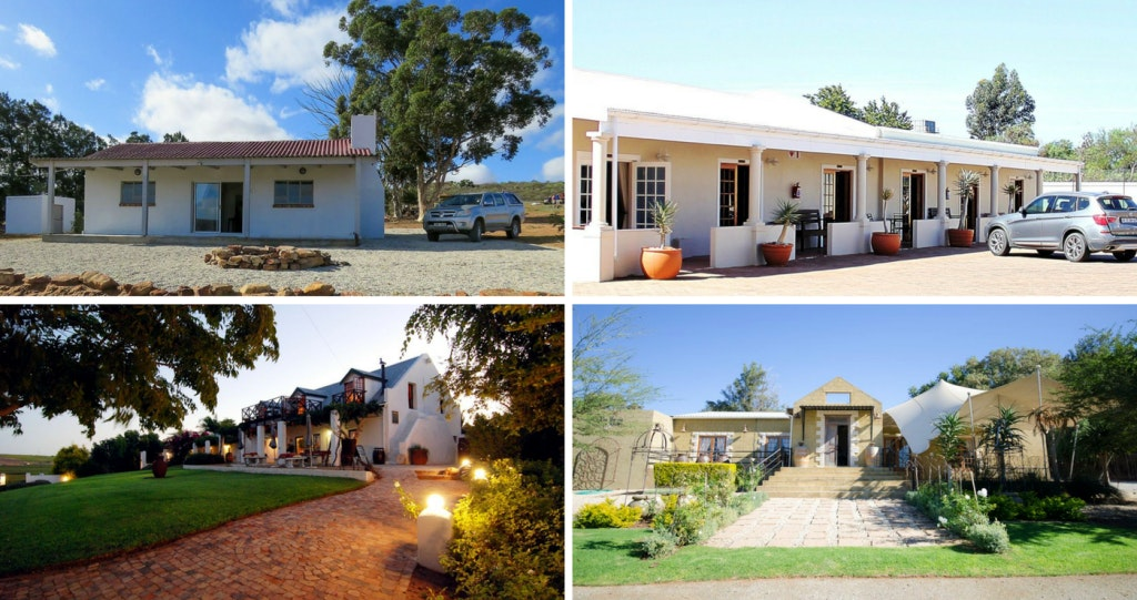 Rietrylaagte Accommodation and 4x4 (links bo); Belle Ombre Gastehuis (regs bo); Melkboomsdrift Lodge (links onder); Rooms With a View (regs onder) | Foto's: LekkeSlaap.