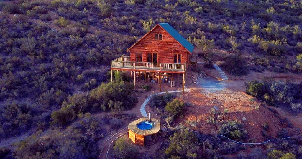 Travelling tortoise wooden house on stilts hot tub