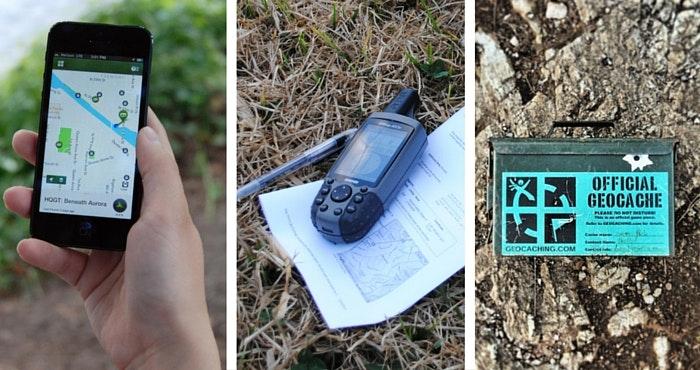 'n Slimfoon met die Geocaching-toep, 'n GPS-toestel by GCYBTZ , en 'n amptelike geocache.  Foto's: Geocaching.com (links en regs) en JP Meintjes (middel).