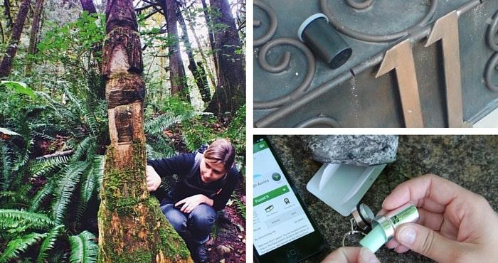 (Links) Op soek na 'n skat! Foto van Geocaching.com. (Regs bo) JPMZA se eerste geocache, GC17K00. Foto: Jp Meintjes. (Regs onder) 'n Kleiner geocache. Foto: Geocaching.com.a